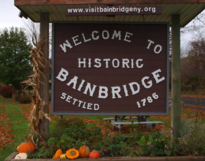 Welcome to Bainbridge NY sign